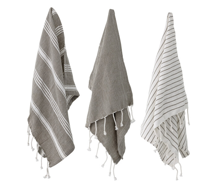 Cotton Kitchen Towel kolme harmaa keittiopyyhetta Bloomingville kuva